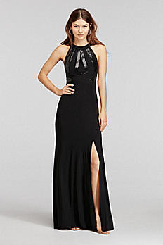 Sequin Halter Jersey Dress with and Open Back 12172D