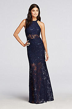 Halter Lace Prom Dress with Illusion Waist 12182