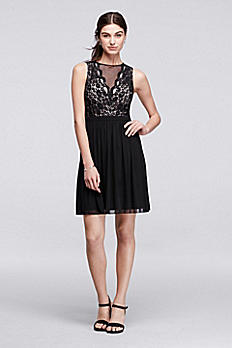 Sleeveless Short Dress with Illusion Lace Neckline 12264