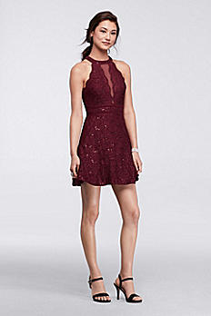 Short Halter Homecoming Dress with Illusion Inset 12270