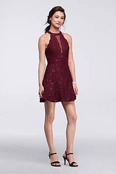 Short A-Line Halter Prom Dress - Morgan and Co