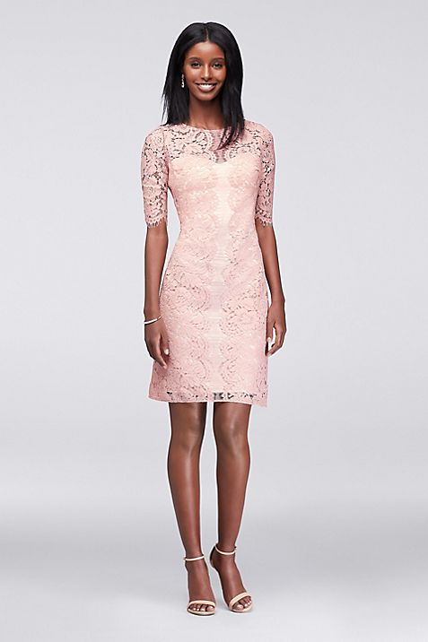 Illusion Lace Sheath Dress with Scalloped Sleeves | David\'s Bridal