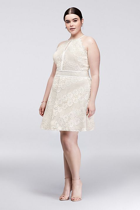 Chevron Lace Fit and Flare Plus Size Halter Dress | David\'s Bridal