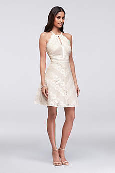 Short A-Line Halter Guest of Wedding Dress - Morgan and Co
