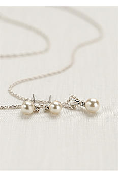 Pearl and Rhinestone Necklace and Earring Set 12670 SET