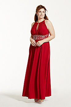 Sleeveless Key Hole Beaded Waist Jersey Dress 1298W