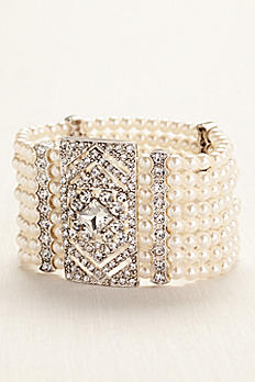 Pearl and Silver Deco Cuff Bracelet 13054124PRLS