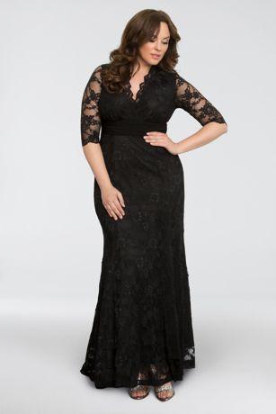 Black lace plus size wedding dress