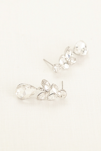Faceted Rhinestone Drop Earrings 135481EP