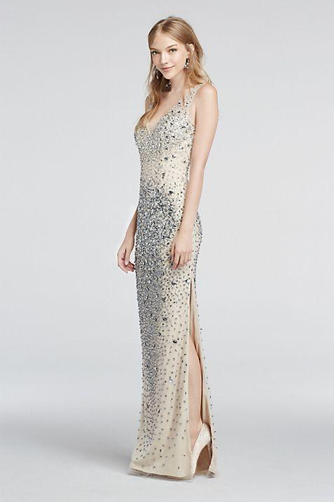 Crystal Bead Encrusted Illusion V-Neck Prom Dress | David\'s Bridal
