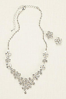 Scattered Solitaire Necklace and Earring Set 137872NE