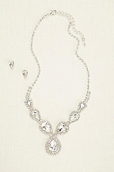 Pear and Pave Rhinestone Necklace and Earring Set 137873NE