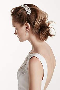 Floral Motif Pearl Accent Comb