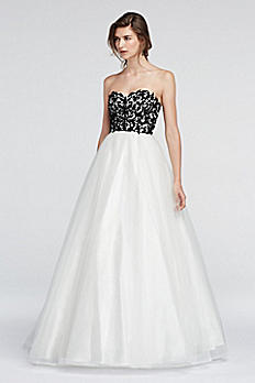 Strapless Lace Prom Dress with Ball Gown Skirt 1396