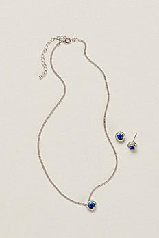 Circle Pave Necklace and Earring Set 141169NE