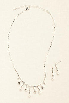 Pearl and Crystal Drop Necklace and Earring Set 141485NE