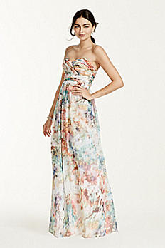 Strapless Printed Chiffon Dress 141704950
