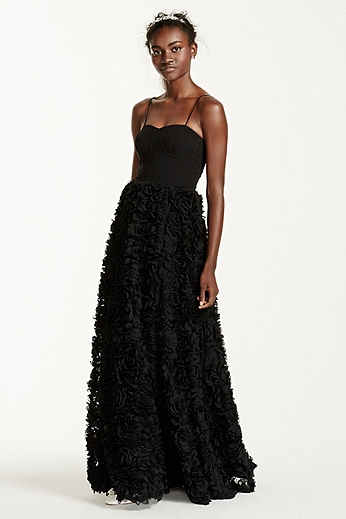 Corset Gown with Floral 3D Texture Skirt 141704960