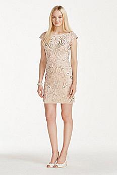 Short Cap Sleeve Dress with Allover Beading 141706350