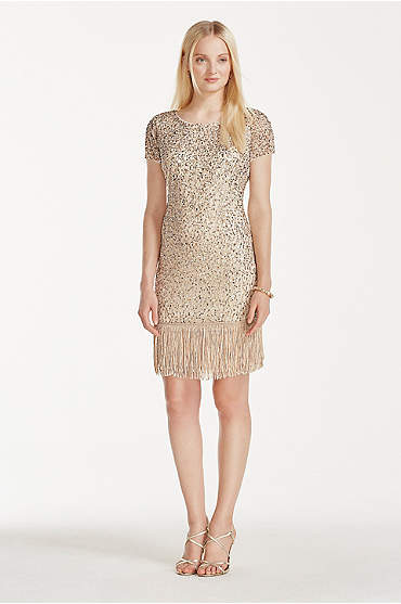 Champagne beaded short dress with fringe hem