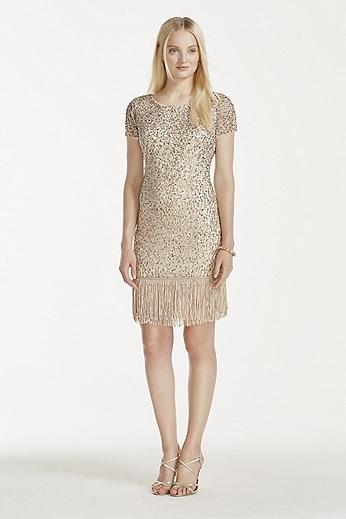 Cap Sleeve Short Dress with Fringe Hem 141706360