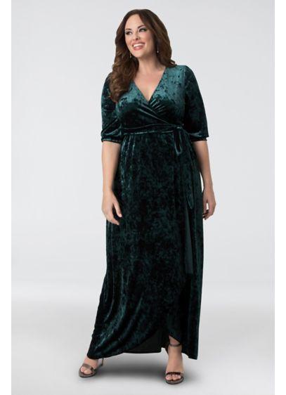Cambria Velvet Plus Size Wrap Maxi Dress | David\'s Bridal