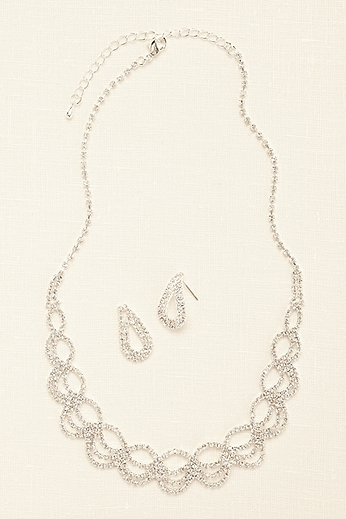 Open Work Crystal Necklace and Earring Set 142295NE