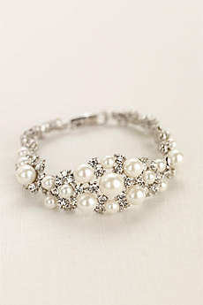 Pearl and Crystal Center Clasp Bracelet