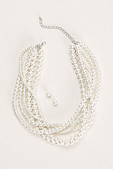 Pearl Necklace and Earring Set 144236NEX