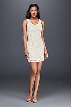 Sleeveless Scoop Neck Lace Shift Dress 1464