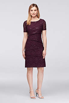 Short Sheath Short Sleeves Cocktail and Party Dress - Ronni Nicole