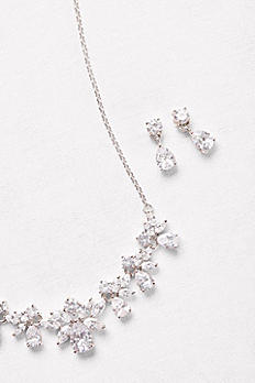 Cubic Zirconia Cluster Necklace and Earrings Set 149613NE