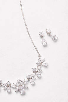 Cubic Zirconia Cluster Necklace and Earrings Set