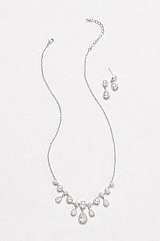 Pave Pear Drops Necklace and Earring Set 149617NE