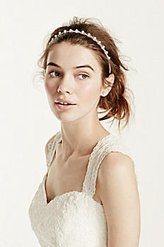 Crystal Woven Pearl Center Stretch Headband 1504429