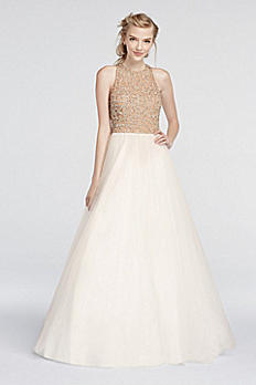 Beaded High Neck Prom Dress with Ball Gown Skirt