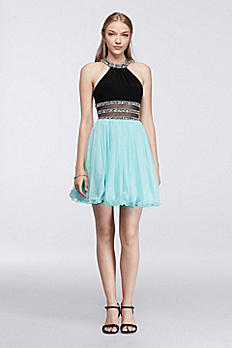Short Halter Homecoming Dress with Crystal Banding 155348