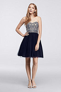 Short Homecoming Dress with Geometric Sequins 155458