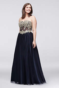 Long Ballgown Strapless Prom Dress - Blondie Nites