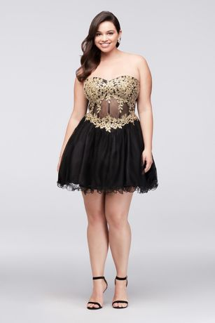 embroidered illusion corset plus size dress  david's bridal