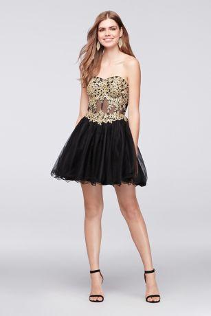 Black dress strapless long white dress