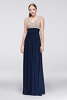 Jeweled Bodice Empire Dress with Cap Sleeves 1596