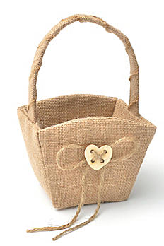 XO Burlap Flower Girl Basket 16117