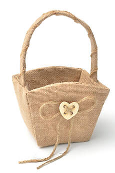 XO Burlap Flower Girl Basket