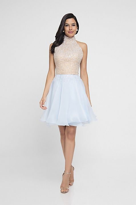 Beaded Halter-Top Short Dress | David\'s Bridal