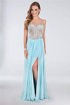 Long A-Line Strapless Prom Dress - Terani Couture