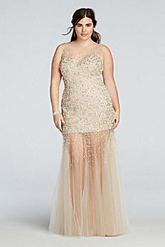 Bead Embellished Illusion Tulle Prom Dress 1611P0701W