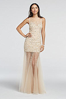 Bead Embellished Illusion Tulle Prom Dress 1611P0701