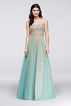 Gem-Encrusted Tulle Dress with Illusion Inset 1611P1014G