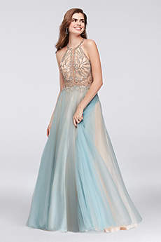 Long Ballgown Halter Prom Dress - Glamour by Terani